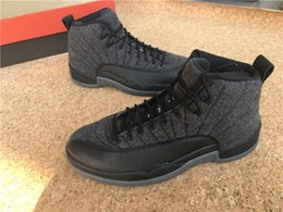 Wholesale Basketball Basket Size - 2016 A+ quality air retro 12 Wool Grey Black men and women Basketball Shoes gilrs sports Sneakers us size 5.5-13 online for sale