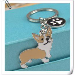Wholesale Dog Shape Keychain - 2016 NEW PET Key Chains Corgi Dog Figure Dogs Keys Ring Shape Cheap Wholesale Lovely Keychain Car Keyrinsg Very Key