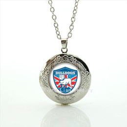 Wholesale Modern Gold Necklace - Modern jewelry for children and kids silver plated locket necklace sport rugby football picture accessory gift NF008