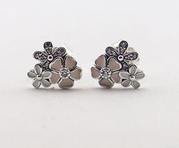 Wholesale Diy Silver Pandora Charm Earrings - Pandora Jewelry Poetic Blooms Enamel Flower Silver Stud Earrings With Clear CZ 925 Sterling Silver Jewelry DIY