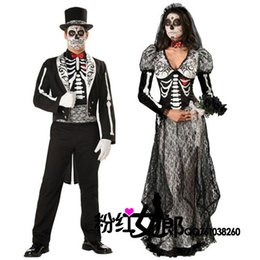 Wholesale Foreign Bride - Foreign Trade Human Skeleton Banshee Bride Male Spirit Festival Lovers Install A Ghost Couple Serve Halloween Party Masquerade Clothing