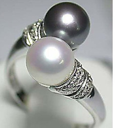 Wholesale Cheap Ring Real - Wholesale cheap Hot Sell! Real Black White Freshwater Pearl Silver Ring Size:6 7 8 9   Free Shipping