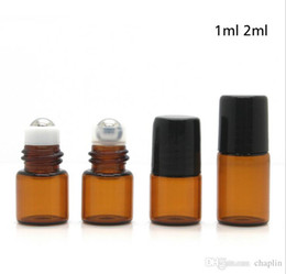 Wholesale Brown Glass Bottles - 1ML 2ML Roll-On Empty Glass Bottle Clear Brown Color Rollon Metal Roller Ball Bottle Essential Oil Liquid fragrance