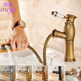 Wholesale Antique Nickel Pull - New Pull Out Antique Kitchen Faucet Crystal+ Copper Sink Nickel Brushed Kitchen Mixer Classica Mixers Faucets Bathroom Faucet