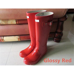Wholesale Womens Purple Heels - Womens Rainshoes Wellies Wellingtons Wellington Rain gules Welly Waterproof Knee Rainboots Rain Boots Glossy Matte Shoes Galoshes