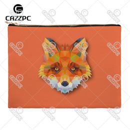 Wholesale Diamonds Bunny - Wholesale- Geometric Diamond Fox Koala Owl Bear Bunny Wolf Canvas Pattern Print Cosmetic Bag Makeup Pouch Wristlet Hand Bag