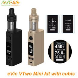 Wholesale Joye Tech Evic - Original Joye tech Evic VTwo Mini With Cubis TANK Starter Kit NEW Joytech E Cigarette variable 75w Box Mods VS evic vtc mini vt cubis kit