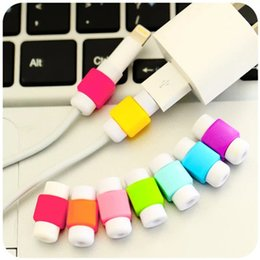 Wholesale Cord Sleeves - Data Cord Connector Protector Protective Sleeves Cable Winder Cover Candy Color Just for iphone cable Random Color