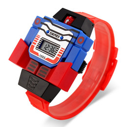 Wholesale Digit Sport Watches - 2016 Fashion LED Digit Kids Children Watch Sports Cartoon Watches Cute Relogio Relojes Robot Transformation Toys Boys Wristwatch