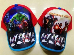 Wholesale Captain Baseball Cap - Hight quality The Avengers hats Hulk Iron man Captain America fashion Baseball caps Peaked Cap Sun hat Cartoon Canvas hat best gift for kids