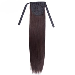 Wholesale Hairpieces For Short Hair - Alileader Synthetic Clips In Hair Ponytails Hairpieces 18 Inch Afro Ponytail Extension For Short Hair Styling Straight Hair