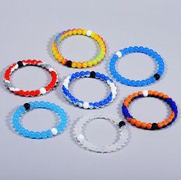 Wholesale Transparent Bangle - DHL Transparent Bead Silicone Bracelets Energy Belief Colorful Balance Power Bracelets Neno Design Crystal Charms Anti Fatigue Bangle