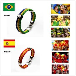 Wholesale Option Fans - Hot Sale National Flags Bracelets Handmade leather Chain for Olympic Games World Cup Fans Braided Rope Charms Bracelets, Unisex, 10 options