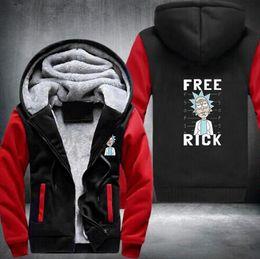 Wholesale Mens Fleece Cardigans - Wholesale New Rick and Morty Hoodie Logo Winter JiaRong Fleece Mens Sweatshirts Free Shipping USA Size fast ship