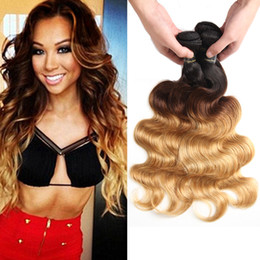 Wholesale two tone brazilian hair weft - Ombre Body Wave Hair Weaves Malaysian Indian Peruvian Brazilian Virgin Hair Bundles bodywave Two Tone Dark Roots Blonde Ombre Human Hair