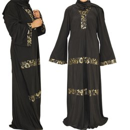 Wholesale Dubai Women Clothing - Plus Size Korean Material Dress Black Abaya Embroidery Long Sleeve Dubai Design Fat Women Latest Clothes