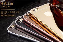 Wholesale Iphone 4s Aluminum Cases - For Iphone 7 Plus 6 6s SE 5 5S 4 4S 5C Aluminum Alloy Bumper Frame +Luxury Mirror Bling Metallic Hard Case 2 in 1 Hybrid Chromed Back Cover