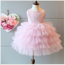 Wholesale Korean Cake Girl - 2016 New Girls Tutu Lace Princess Dress Korean Style Children Lace Tulle Dresses Kids Summer Cake Party Dress Cute Baby Girl Dress 5pcs lot