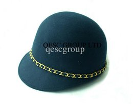 Wholesale Military Feel - Navy blue 100% WOOL FELT HAT with gold metal chain for races daily life church.