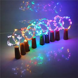 Wholesale White Wine Bottles - 2M 20LED Lamp Cork Shaped Bottle Stopper Light Glass Wine LED Copper Wire String Lights For Xmas Party Wedding Halloween