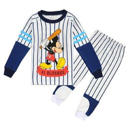 Wholesale Kids Boy Pjs - 110-150cm Baseball Costumes Children Pajamas Sets boy Sleeved Slugger Tee Shirts Tops Striped Pant Suit Pyjamas Kid PJS WQBL