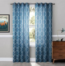 Ojales cortinas opacas online-Fashion Grommet Top Sheer Curtains Print Sheer Curtains Estampados geométricos Cortinas Blackout Window Curtains 2 Panels