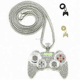 Wholesale Heavy Gold Chain Necklace Mens - 2016 Hip Hop Game Machine Handle Pendant Necklace Mens Full Crystal Heavy Necklace Fashion Iced Out Game controller Necklace