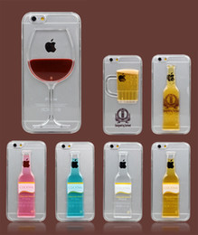 Wholesale Beer Bottle Iphone Case - Liquid Quicksand Case for iPhone 5s 6s plus Red Wine Cocktail Glass Beer bottle design for samsung s6 edge Transparent Back Cover