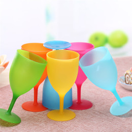 Wholesale Tooth Glasses - New Multi-function Plastic drinking cup Solid color tooth cup outdoors Wine glass household simple Goblet IA829
