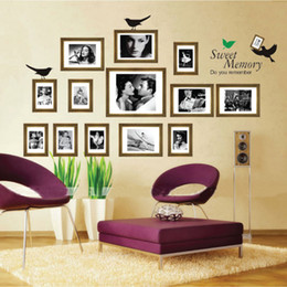 Wholesale Photo Stickers Paper - Free shipping living room Sofa background bedroom Removable Photo Wall Frame Wall Stickers Sweet memories