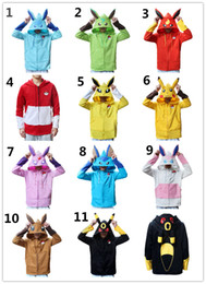 Wholesale Hoodies Ears Wholesale - New 11styles POKE mon zipper Hoodie cartoon fleece Jacket Pocket Monster cosplay coat Sylveon Eevee Flareon Umbreon Phyllali 3d ears outfits