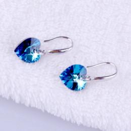 Wholesale Svarovski Earrings - fashion 925 sterling silver zirconia earrings for women Beautiful hoop svarovski channel crystal sea heart earrings for women