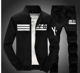 Wholesale Men Fashion Jogging Pants - 2016 New Fall Men Casual Sportswear Fashion Y-8 Series Tracksuits Hip-Hop Baseball Jacket Coat+ Pants Outdoor Sports Jogging Suit