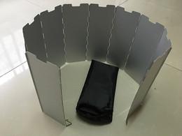 Wholesale Kerosene Camp Stove - Wholesale 100pcs lot 10 plates Fold Camping Cooker Gas Stove Wind Shield Screen Foldable