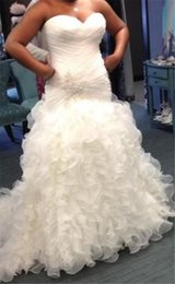 Wholesale Drop Waist Ruffled Wedding Dress - Sexy Beaded Ruffled Organza Plus Size Wedding Dresses 2017 Sweetheart Neck Draped Waist Corset Bridal Gowns