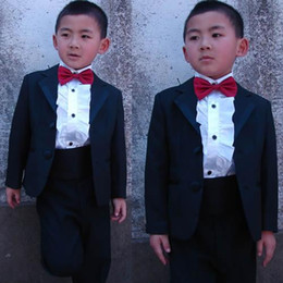Grandi ragazzi indossano online-Boy's Formal Wear Nero Due bottoni Baby Little Toddler Big Boy Boys Vestito Tuxedo (Giacca + Pantaloni + Papillon) Q13