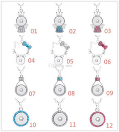 Wholesale Popcorn Silver Chain - Fashion Women NOOSA Necklace Snap Button Charm Pendant Crystal Necklace Snaps Jewelry With 361L Stainless steel Chain