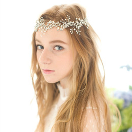 Wholesale Crystal Leaf Tiara Crown - Crystal Beaded Bridal Headband Crown Vintage Handmade Hair Vine Wedding Headpiece Silver Gold Leaf Wedding Hair Accessories 2016 In Stock