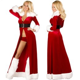 Wholesale Sexy Christmas Lady Outfits - Ladies Sexy Miss Santa Christmas Outfit Claus long Party Fancy Dress Costume snowman ZL740 S-L