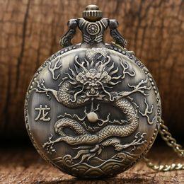 Wholesale Chinese Dragon Pendant Wholesale - Wholesale-3D Chinese Dragon Bronze Quartz Pocket Watch Necklace Pendant Clock Free Shipping