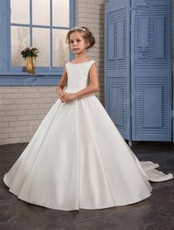 Wholesale Train Taffeta Flower Girl - Girls Wedding Dresses 2017 Pentelei with Beaded Neck and Bows Sweep Train Satin Ballgown Flower Girls Gowns for Weddings