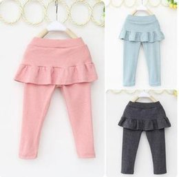 Wholesale Kids Long Pencil Skirts - Kids girls skirt-pants 2016 new spring autumn children clothing trousers kids cute long girls ruffle pants cotton100%