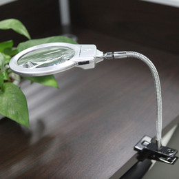 Wholesale Lighted Magnifying Lamp Clamp - Magnifying Glass Desktop Reading Lamp Light with Clamp Magnifiers Loupe Folding Magnification 2.5X 5X LED Magnifier Metal Hose