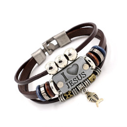 Wholesale Multilayer Leather Charm Bracelet - I LOVE JESUS Charm Bracelets Vintage Fish Pendant Christian Multilayer leather bracelets for men women bangle