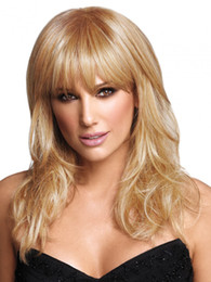 Wholesale Long Layered Wig - Blonde long layered wigs with fringe natural straight girls hairstyle Heat Resistant synthetic hair wig for Women perruque femme