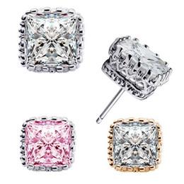 Wholesale Ears Rings - Luxury Crown Wedding Stud Earrings CZ Rhinestone 6mm Square Crystal Engagement Beautiful Jewelry Crystal Ear Rings