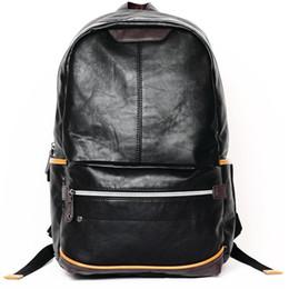 Wholesale Sling Rucksack - Fashion Men PU Leather Travel Vintage Laptop Backpack Rucksack School Book Bag Shoulder Sling Satchel Bags