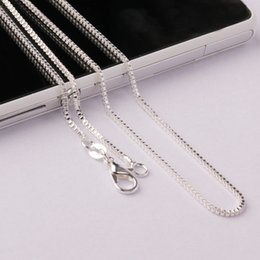 Wholesale 18 Silver Plated Box Chain - 16 18 20 22 24inch High Quality 925 Silver Venice Box Chain Necklace Silver Color for Boy and Girl