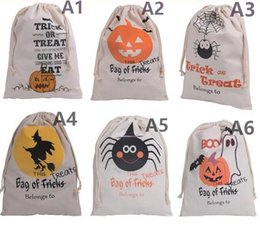 Wholesale Cosplay Virgin - Cotton Canvas Halloween Sack Children favor Candy cloth Gift Bag Pumpkin Spider treat or trick Drawstring Bags Party festive Cosplay supply