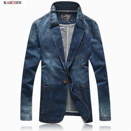 Wholesale Korean Slim Men S Suit - Wholesale- Autumn Jacket Men 2016 Spring New Arrival Fashion Denim Blazer Men Korean Slim Fit Solid Mens Suit Outwear Coat Size M-XXXL